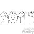 5660 Royalty Free Clip Art 2014 New Year Numbers Cartoon Characters