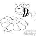5596 Royalty Free Clip Art Smiling Bumble Bee Flying Over Flower