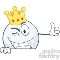 5724 Royalty Free Clip Art Winking Golf Ball With Gold Crown Holding A Thumb Up Over Sign