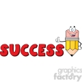5940 Royalty Free Clip Art Happy Pencil Cartoon Character Giving A Thumb Up With Text Success