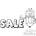 Royalty Free Clip Art Happy Pencil Cartoon Character Giving A Thumb Up With Text Sale