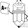 5917 Royalty Free Clip Art Smiling Pencil Holding An A Plus Report Card