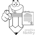 5933 Royalty Free Clip Art Smiling Pencil Cartoon Character Pointing With Finger And Holding A Contract