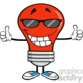 Royalty Free Clip Art Smiling Red Light Bulb With Sunglasses Giving A Double Thumbs Up