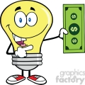 6073 Royalty Free Clip Art Light Bulb Character Showing A Dollar Bill