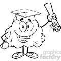 5994 Royalty Free Clip Art Happy Brain Character Graduate Holding up A Diploma