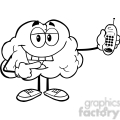 6000 Royalty Free Clip Art Happy Brain Character Holding A Mobile Phone