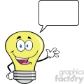 6101 Royalty Free Clip Art Light Bulb Cartoon Mascot Character Waving For Greeting With Speech Bubble