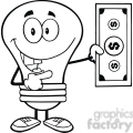 6072 Royalty Free Clip Art Light Bulb Character Showing A Dollar Bill