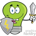 6119 Royalty Free Clip Art Green Light Bulb Guarder With Shield And Sword