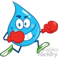 6229 Royalty Free Clip Art Water Drop Character Running With Boxing Gloves