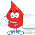 6201 Royalty Free Clip Art Red Blood Drop Cartoon Character Pointing With Finger And Holding A Blank Page