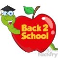 6245 Royalty Free Clip Art Happy Worm In Red Apple With Graduate Cap,Glasses And Text