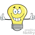6145 Royalty Free Clip Art Smiling Light Bulb Cartoon Character Giving A Double Thumbs Up