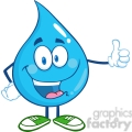 6227 Royalty Free Clip Art Happy Water Drop Character Giving A Thumb Up