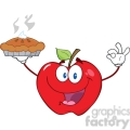 6539 Royalty Free Clip Art Happy Red Apple Character Holding Up A Pie