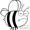 6546 Royalty Free Clip Art Black and White Angry Bee Cartoon Mascot Character