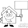 6479 royalty free clip art black and white house cartoon character holding up a blank sign  gif, png, jpg, eps, svg, pdf