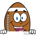 6582 Royalty Free Clip Art American Football Ball Cartoon Mascot Character Over Blank Sign