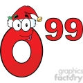 6707 Royalty Free Clip Art Price Tag Red Number 0-99 With Santa Hat Cartoon Mascot Character