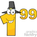 6710 Royalty Free Clip Art Price Tag Number 1-99 With Pilgrim Hat Cartoon Mascot Character