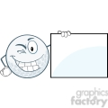 6499 Royalty Free Clip Art Winking Golf Ball With Showing A Sign