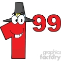 6713 Royalty Free Clip Art Price Tag Red Number 1-99 With Pilgrim Hat Cartoon Mascot Character Giving A Thumb Up