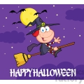 6632 Royalty Free Clip Art Happy Halloween Greeting With Little Witch Ride A Broomstick In The Night