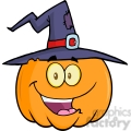 6644 Royalty Free Clip Art Happy Halloween Pumpkin With A Witch Hat Cartoon Mascot Illustration