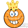 Royalty Free RF Clipart Illustration Smiling Basketball With Golden Crown Cartoon Character