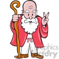old man with cane giving peace sign