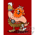 cartoon viking warrior drinking beer