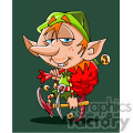 cartoon elf carrying santa bag