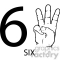 ASL sign language 6 clipart illustration worksheet