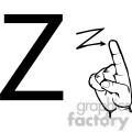 ASL sign language Z clipart illustration worksheet
