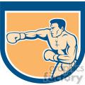 boxer punching side in shield shape