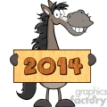 6884_Royalty_Free_Clip_Art_Grey_Horse_Cartoon_Mascot_Character_Holding_A_Banner_With_Text