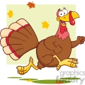 6953 Royalty Free RF Clipart Illustration Happy Turkey Bird Cartoon Character Running