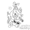 baby new year cartoon character black white