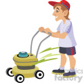 male cutting the grass