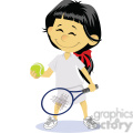 cartoon girl tennis player clip art image