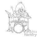 black and white image of boy playing drums nino tocando bateria negro