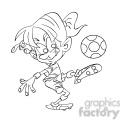 black and white image of female kid playing soccer futbol femenino negro