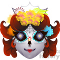day of the dead mask illustration on white  gif, png, jpg, eps, svg, pdf