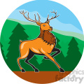 red deer marching forest mountains circ  gif, png, jpg, eps, svg, pdf