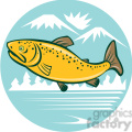 brown trout side JUMPING mountains lake CIRCLE