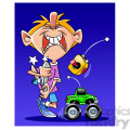 kid playing with radio controlled truck  gif, png, jpg, eps, svg, pdf