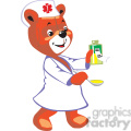 Nurse teddy bear holding a spoon and a bottle with medicine