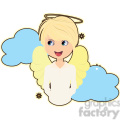 Angel boy in blue clouds cartoon character vector image