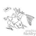 postal man chasing mail with a net black and white  gif, png, jpg, eps, svg, pdf